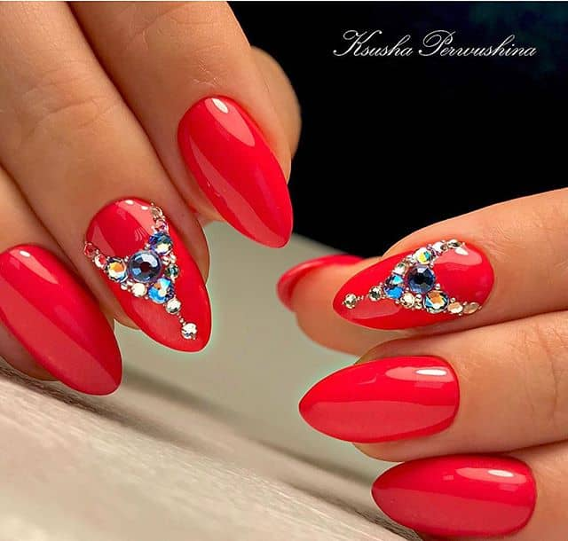 Tropical Twist Mountain Peak Nails with Crown Jewels