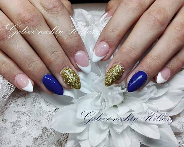 Blue and Gold Mountain Peaks with White Accents