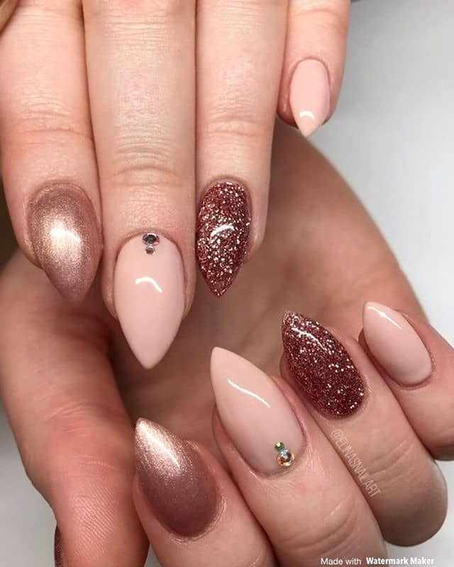 Bronze Mountain Peak Nails with Glitter and Gemstones