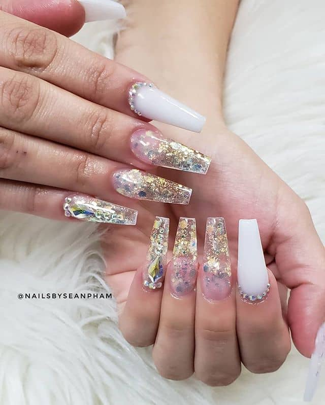 White and Gold Jewel-Filled Crystalline Nails