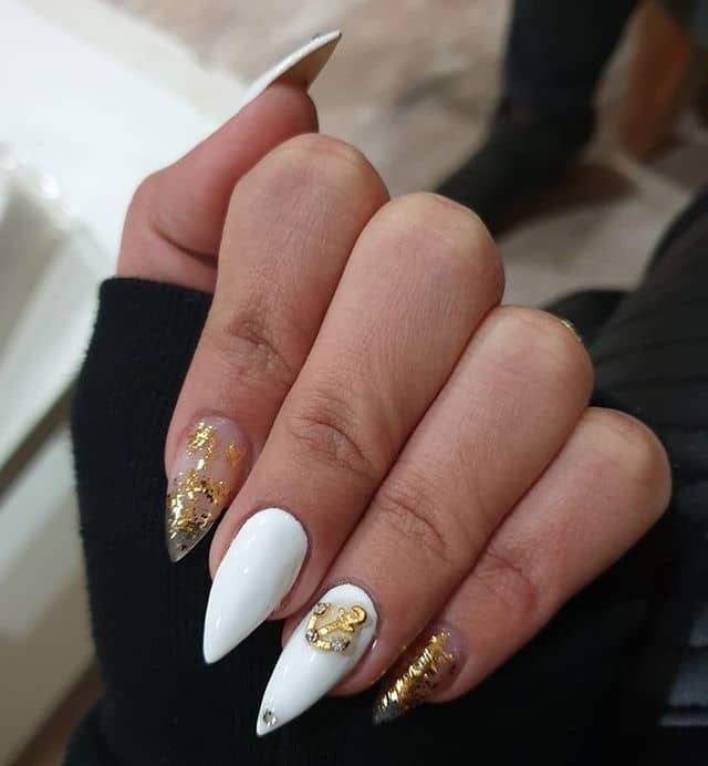 Sea-Inspired Gold Leaf Nails