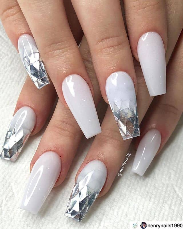 White Nails with Silver Foil Tips