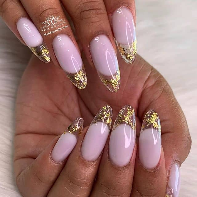 Gold Leaf-Filled Extension Nails