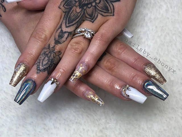 Creative White, Black and Gold Nails