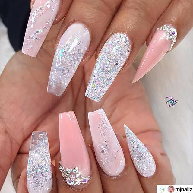 Sparkly Pink and White Ballerina Nails