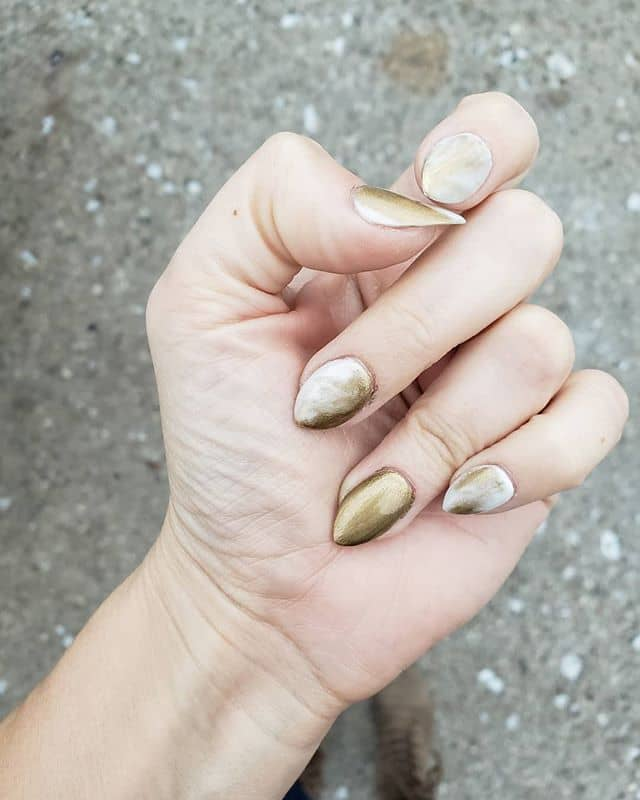Mainly Gold Nails with Hints of White