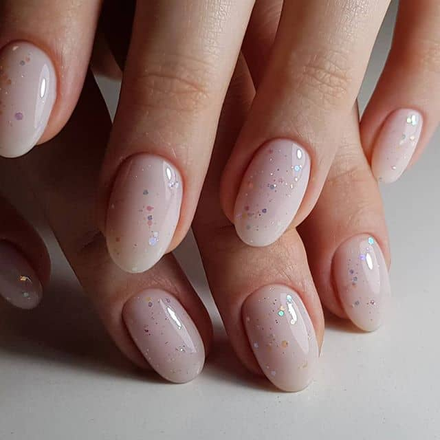 Lightly Sparkled Nude Pink Oval Princess Nails