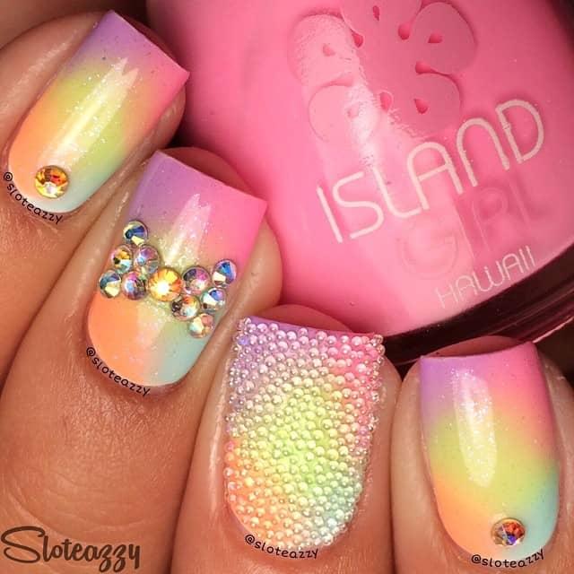 Tropical Rainbow Ombre Princess Nails