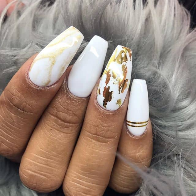 Marble-Inspired Nails with Gold Leaf