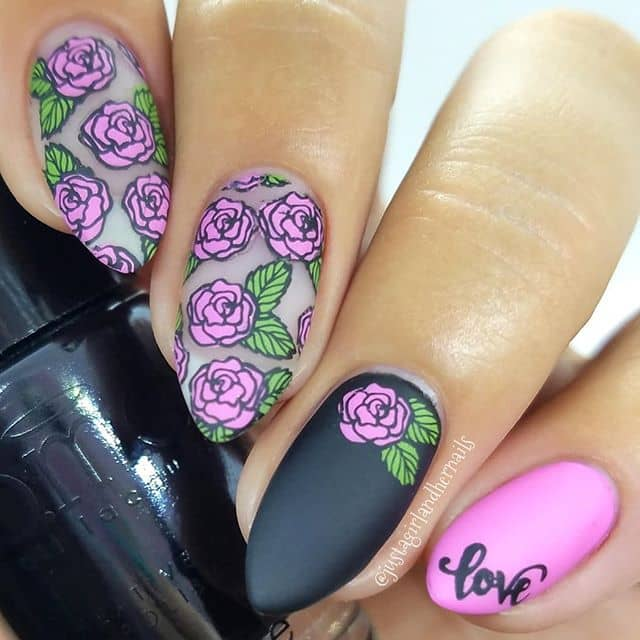 Arrowhead Rose Nails with Professional Black Matte Contrast