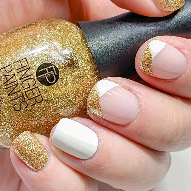 Geometric White and Glitter Gold Nails