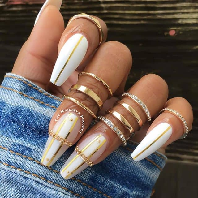 White Nails with Gold Jewelry and Chains