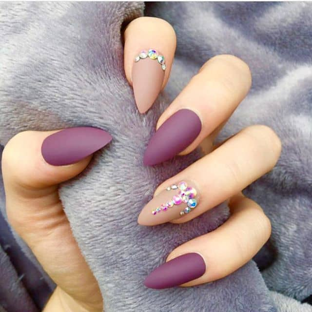 Crystal Mountain Peak Nails with Matte Red Wine and Nude