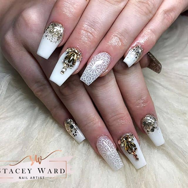 Jewels and White Pattern Nails Evoke Silk