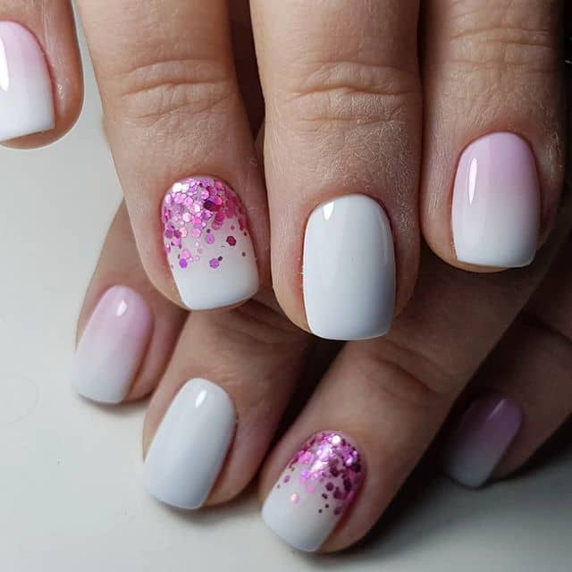 A Stylish Mani with a Pop of Pink