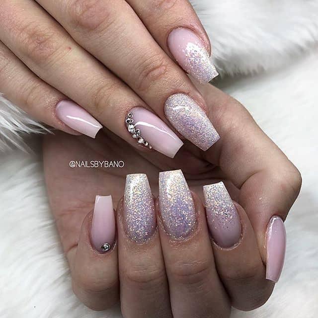 Classy Glitter Ombre Princess Nail Design
