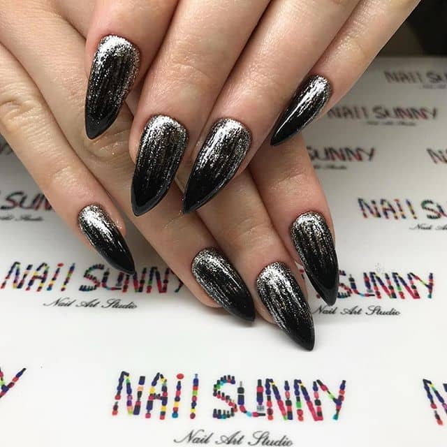 Silver and Black Mountain Peak Nail Ideas with Highlighting