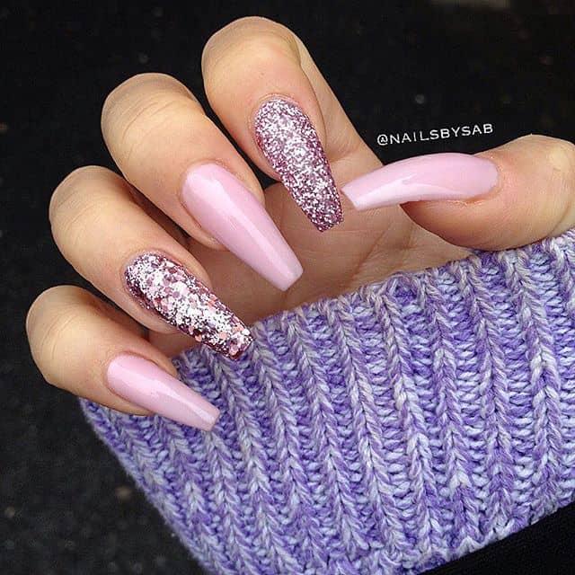 Lavender Crystal Glitter Princess Nails