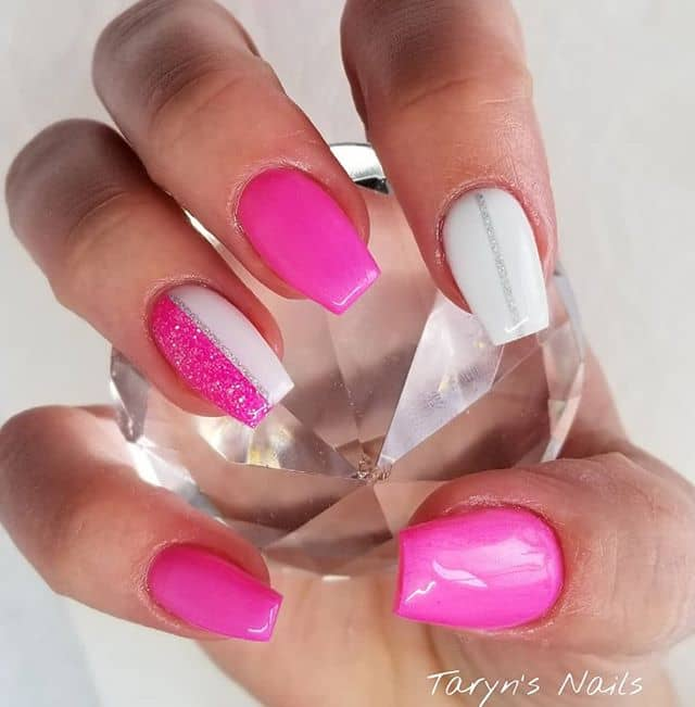 Neon Split Pink and White Gel Nails