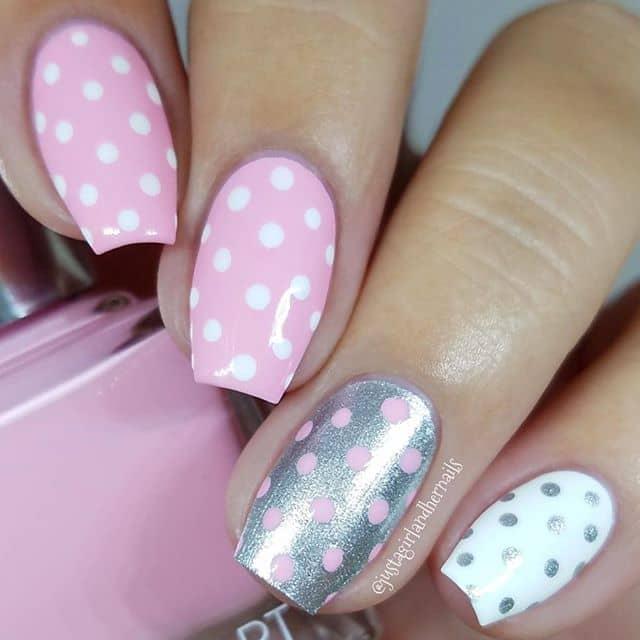 Cute Polka Dot Patterned Princess Nails