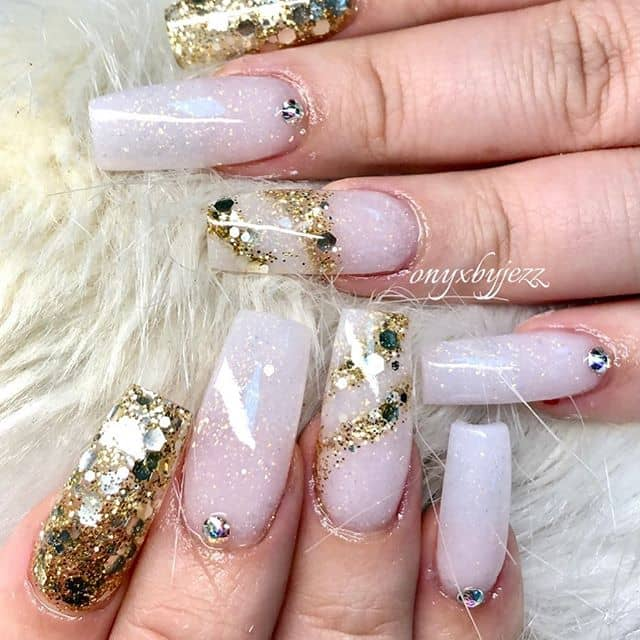 Translucent White and Gold Magical Nails