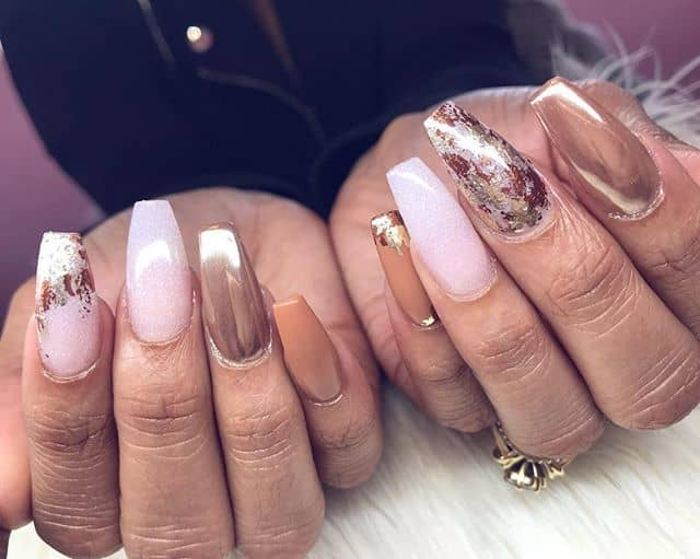 Beautiful Pink, Copper, White and Gold Nails