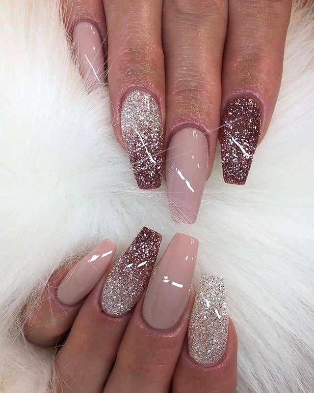 Cute and Classy Nude Glitter Nails