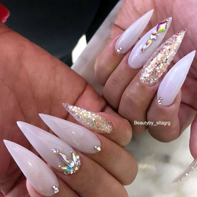 Edgy Bedazzled Stiletto Princess Nails