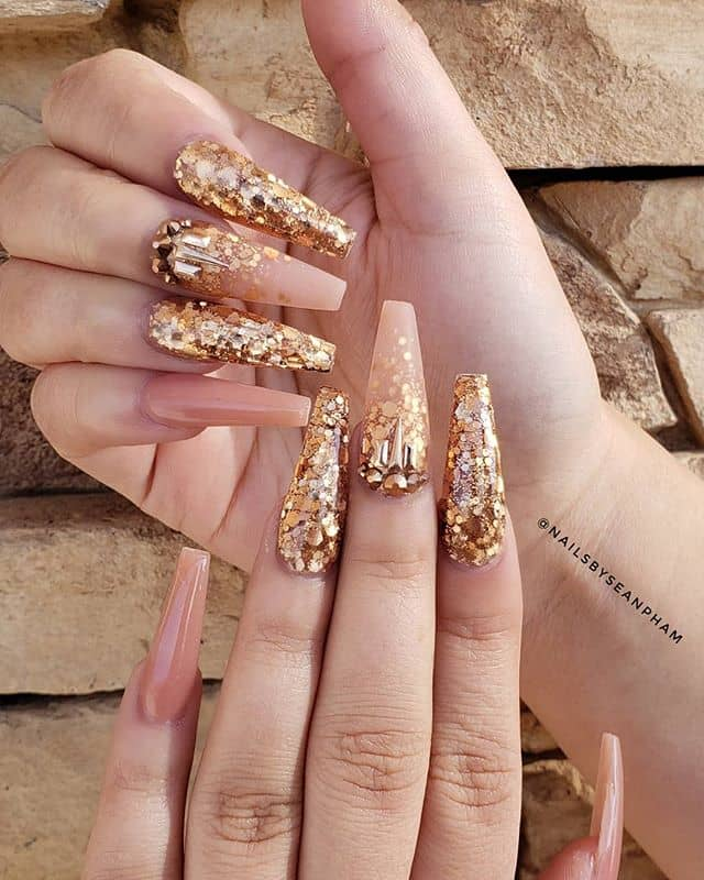 Long Crystal Glitter and Gold Prom Nail Design
