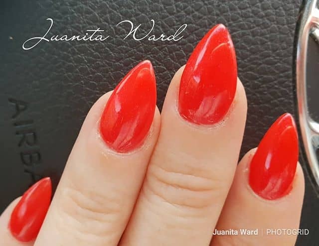 Tomato Red Nails with Glossy Finish Mountain Peak Nail Ideas