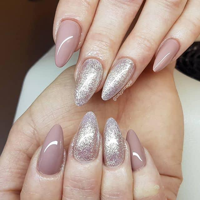 Pretty Mauve Princess Glitter Mountain Peak Nail Design