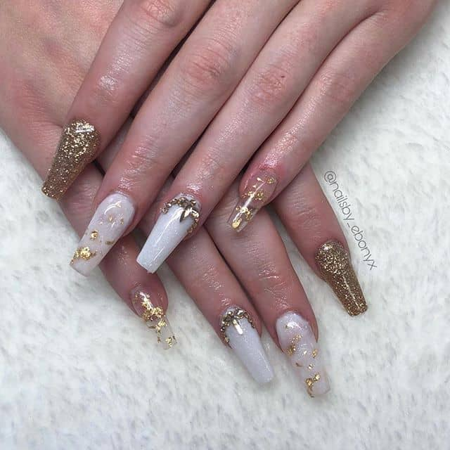 Cute and Transparent White and Gold Nails