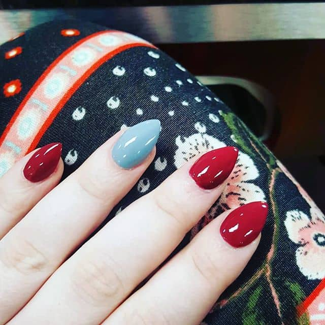 Cute Red and Blue Mountain Peak Nails