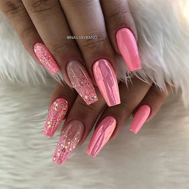 Hot Pink Sparkling Princess Nails