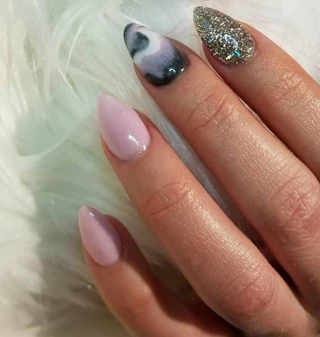 Pink Marble and Glitter Cute Mountain Peak Nails