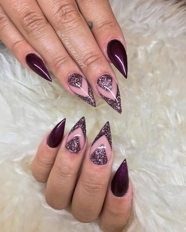 Best Edge Burgundy Nails with Alternate Chevrons