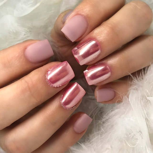 Matte Meets Chrome with This Prom Nail Design