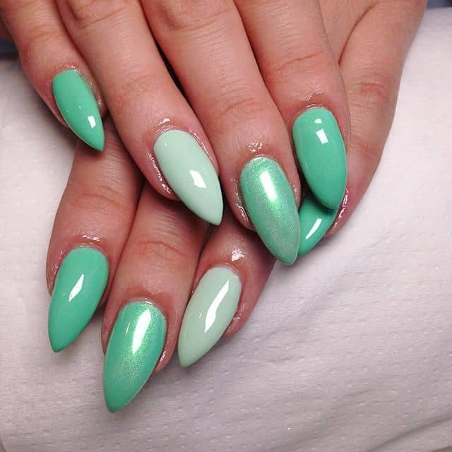 Almond Robin's Egg Blue Mountain Peak Nail Ideas