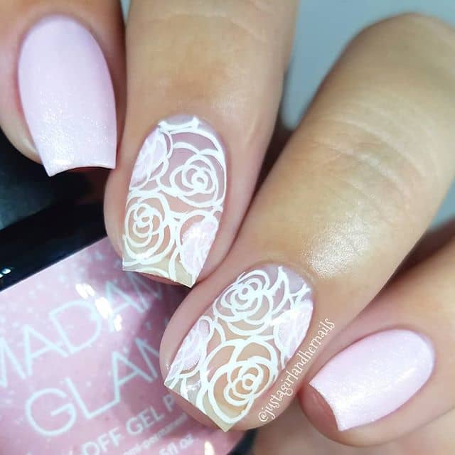 Floral Printed Easy Princess Nail Ideas