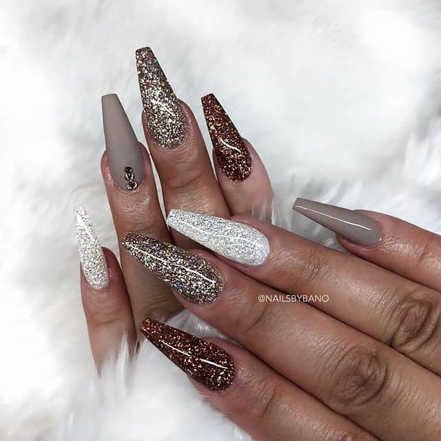 Brown and Silver Nails Take Unique Spin