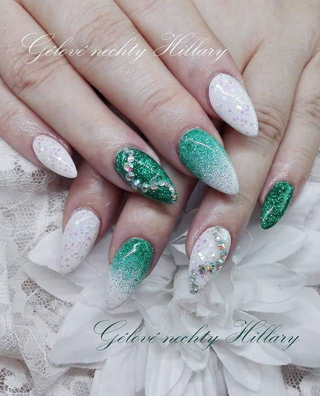 Beautiful Emerald Queen Frosty Nails with Tiny Jewel Accents