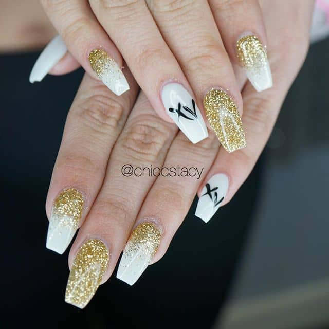 Chic White and Gold Nail Design