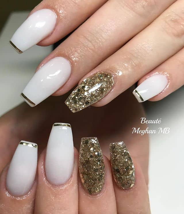Decadent and Regal White and Gold Nails