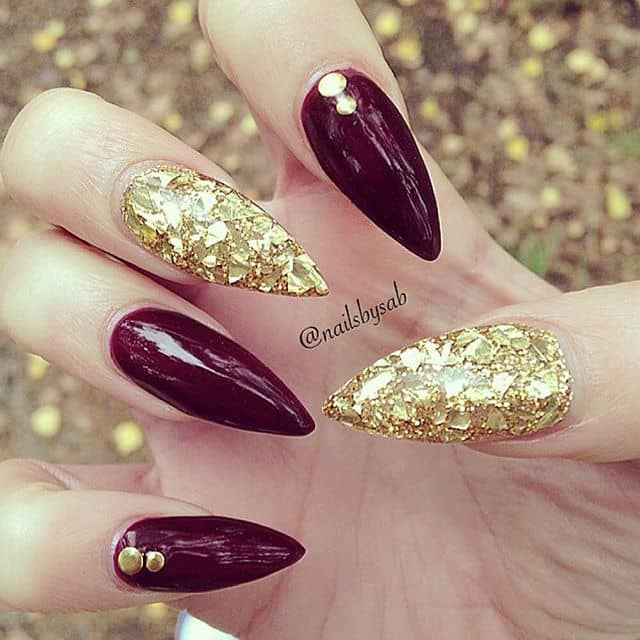 Best Red Nails with Gold Leaf Glitter and Gems