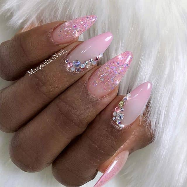 Bejeweled Pink Glitter Nails with Embellishments