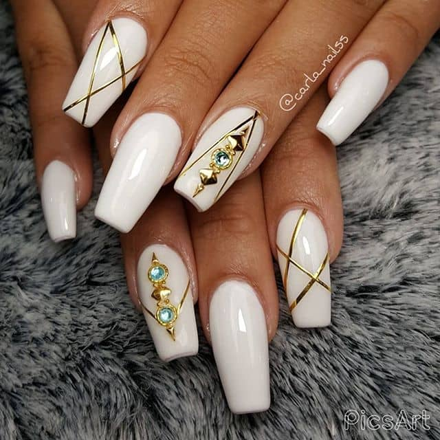 Dazzling Geometric Jewel-Based Nails