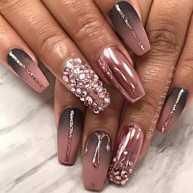 Luxurious and Mysterious Nails with Glam