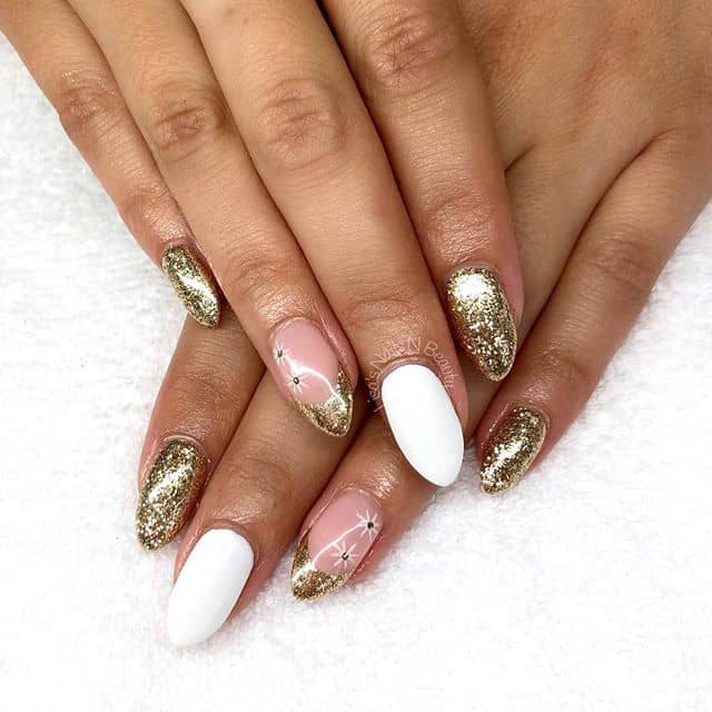 Pink, White and Gold Nails Shine Bright