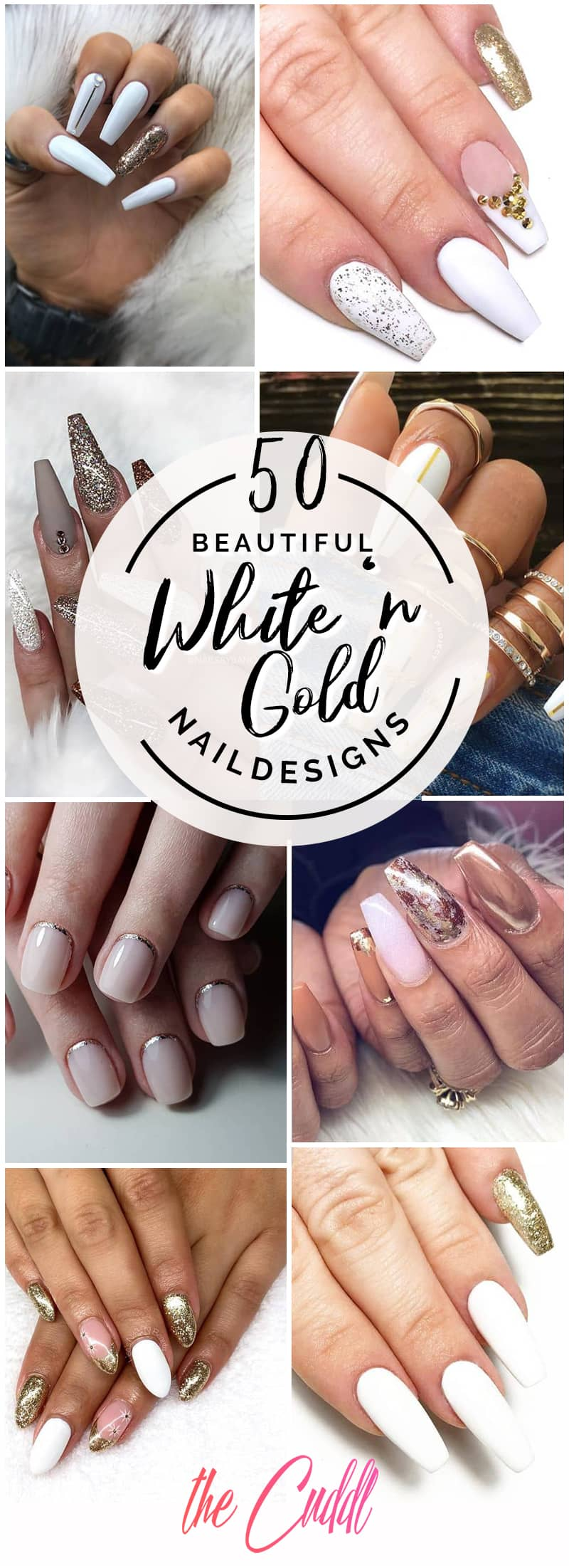 50 Incredible White and Gold Nails to Compliment Your Style