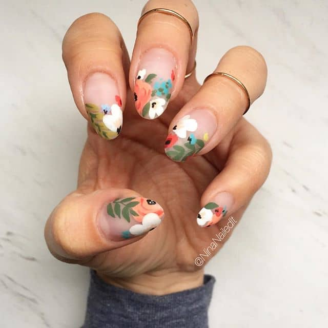 Awesome Indie Garden Flower Nail Art